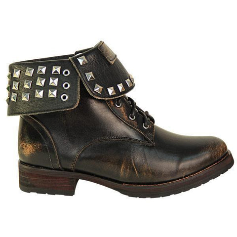 Image of Xelement LU8033 Women's Brown Studded Lace Up Leather Boots