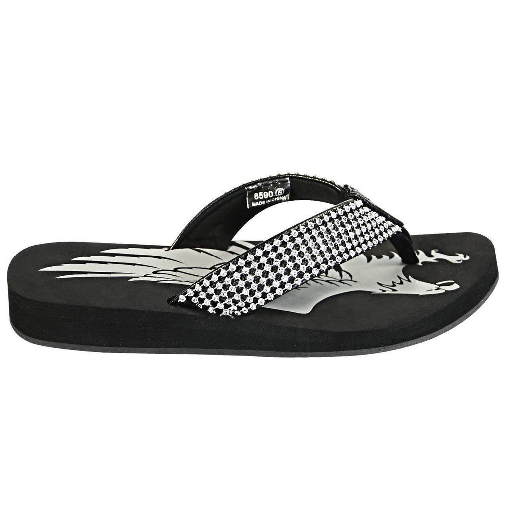 Xelement LU8590 Women's Black Diamond Eagle Sandals