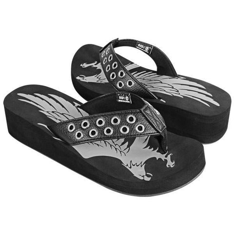 Xelement LU8591 Women's Black Studded Eagle Sandals