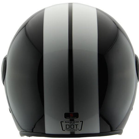 Nikko N318 Black/White Open Face Helmet