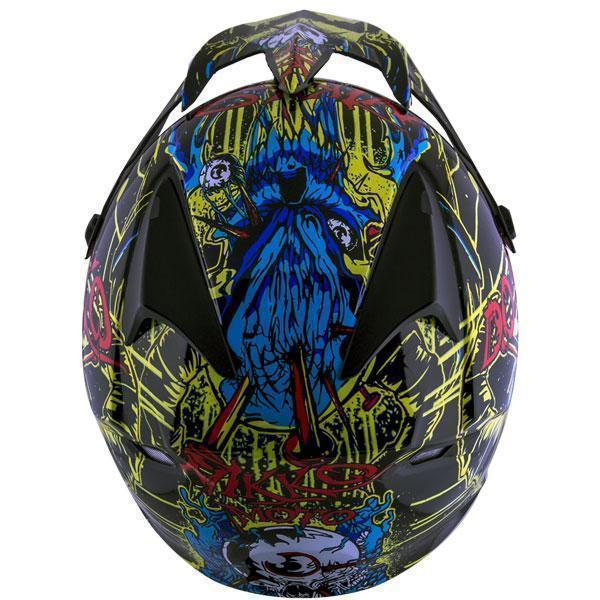 Nikko N719 #1 'Do Or Die' Black Green and Blue Red Motocross Helmet