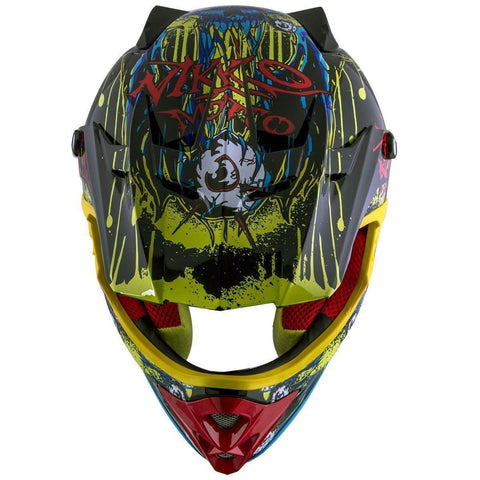 Image of Nikko N719 #1 'Do Or Die' Black Green and Blue Red Motocross Helmet