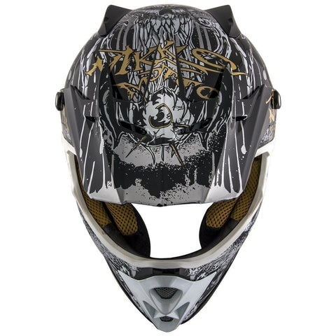 Image of Nikko N719 #1 'Do Or Die' Black and Gold Matte Finish Motocross Helmet