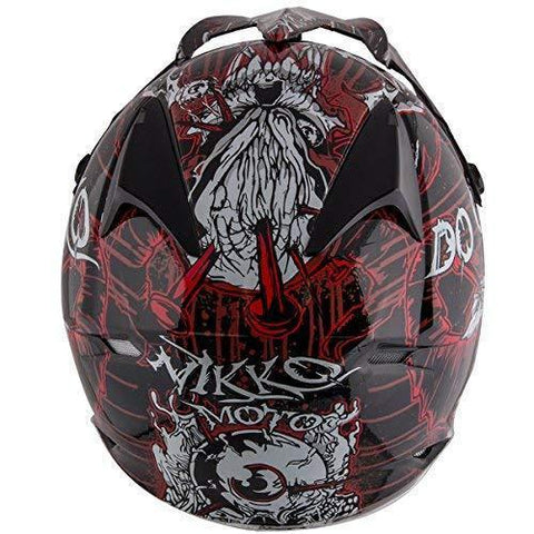 Image of Nikko N719 #1 'Do Or Die' Matte Black and Red  Finish Motocross Helmet