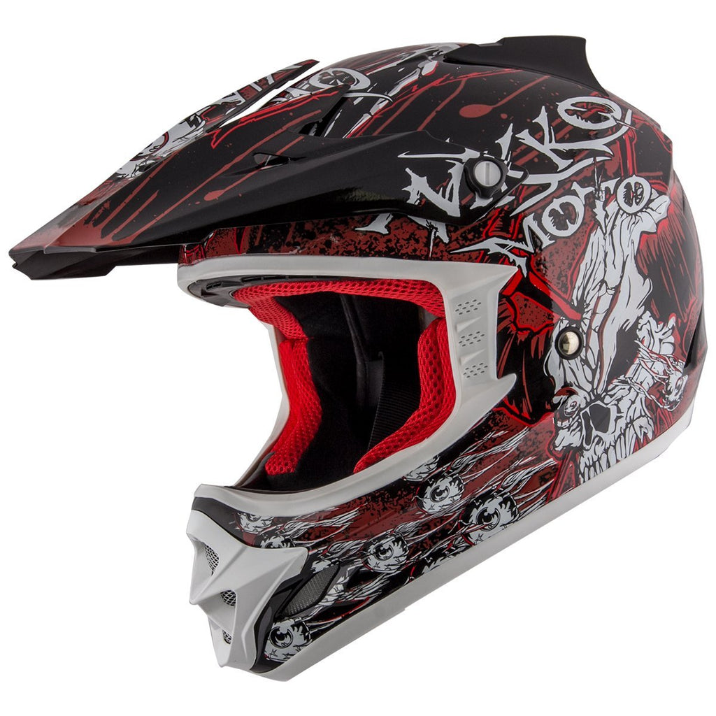 Nikko N719 #1 'Do Or Die' Matte Black and Red  Finish Motocross Helmet