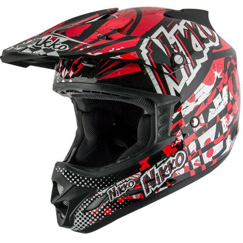Nikko N719 #2 'HyperFreak' Black and Red Motocross Helmet
