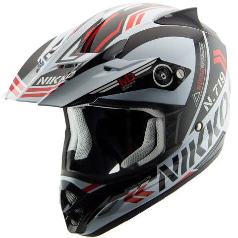 Nikko N719 #3 White/Red Motocross Helmet