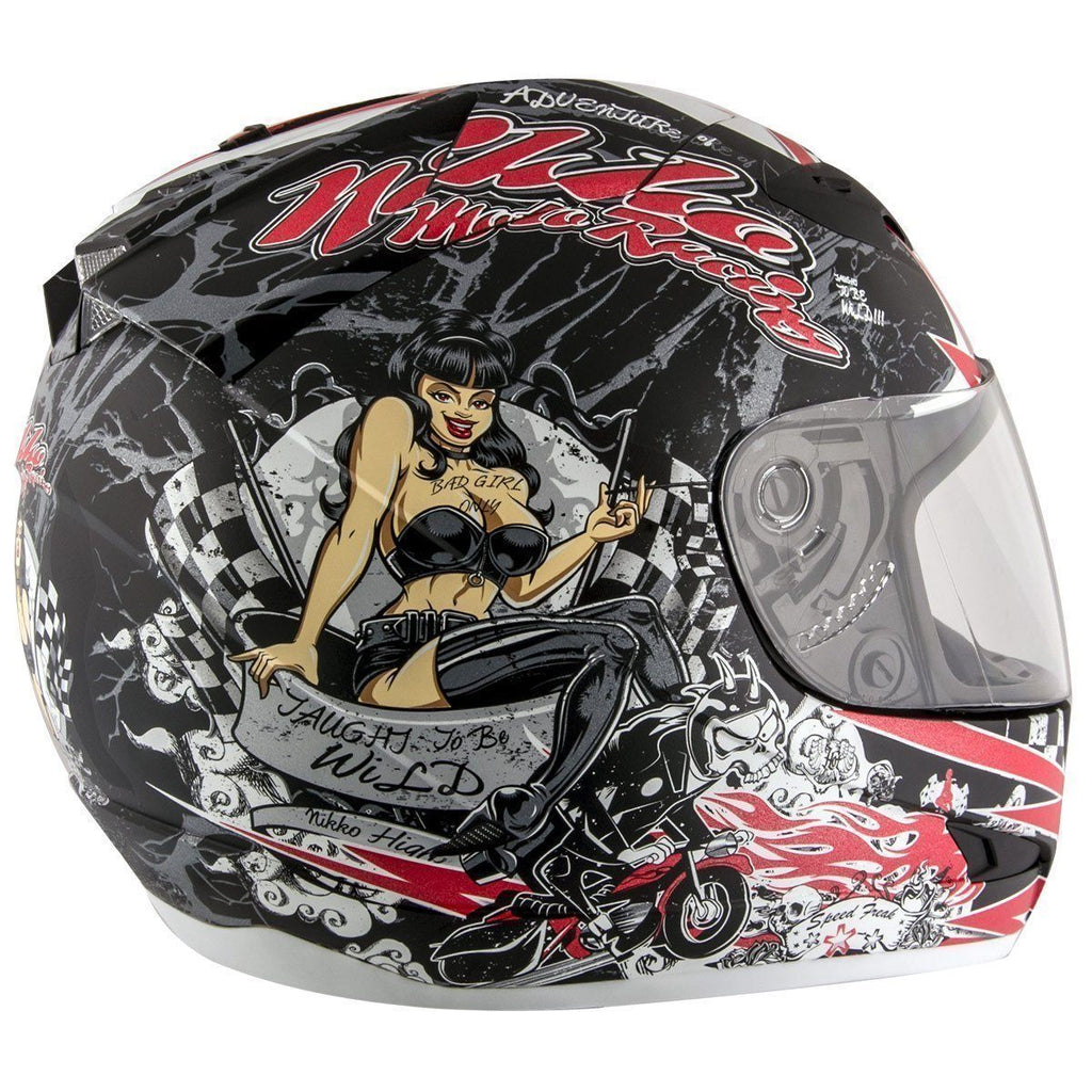 Nikko N916 #3 'Rockin Rude Rider' Matte Black/Red Full Face Helmet with Dual Visor