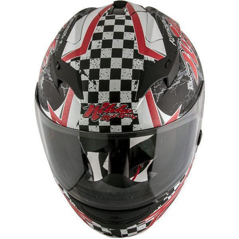 Image of Nikko N916 #3 'Rockin Rude Rider' Matte Black/Red Full Face Helmet with Dual Visor