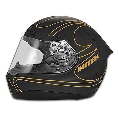 Image of Nitek P1 Flat Black Gold Flame Full Face Motorcycle Street Helmet