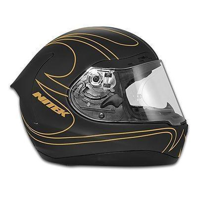 Nitek P1 Flat Black Gold Flame Full Face Motorcycle Street Helmet