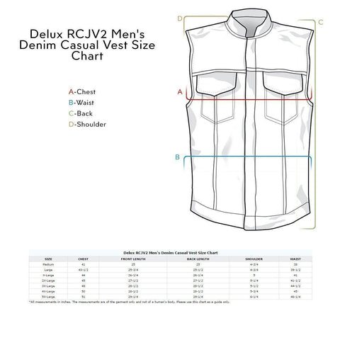Image of Delux RCJV2 Men's Vintage Blue Denim Casual Vest