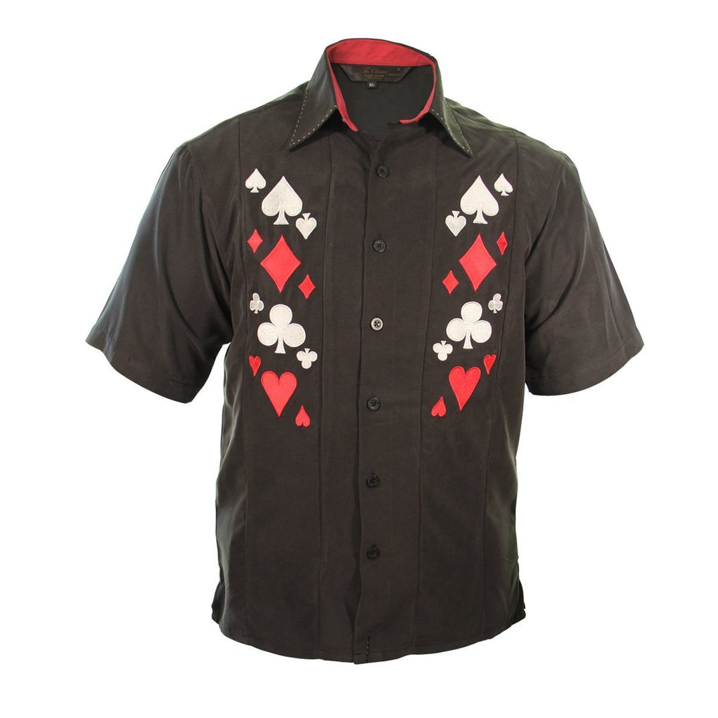 Rockhouse Card Suites Black Button up Short Sleeve Shirt