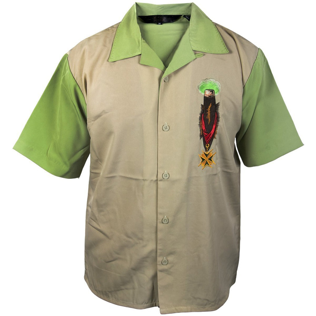 Rockhouse RHCPM249 'Smoke Cigars' Cream and Light Green Button Up Short Sleeve Shirt