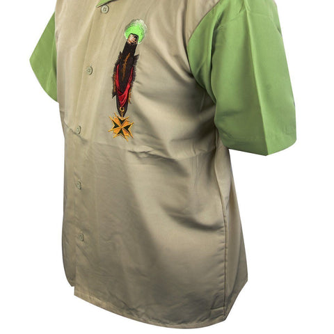 Image of Rockhouse RHCPM249 'Smoke Cigars' Cream and Light Green Button Up Short Sleeve Shirt