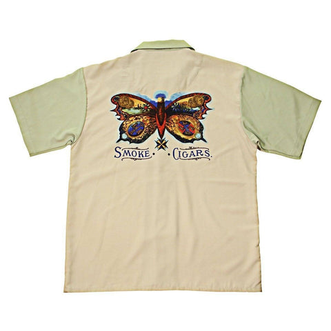 Image of Rockhouse Smoke Cigars Beige/Green Button up Short Sleeve Shirt