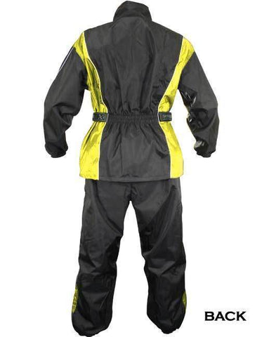 Image of Xelement RN4782 Men's Black/Yellow 2-Piece Motorcycle Rainsuit