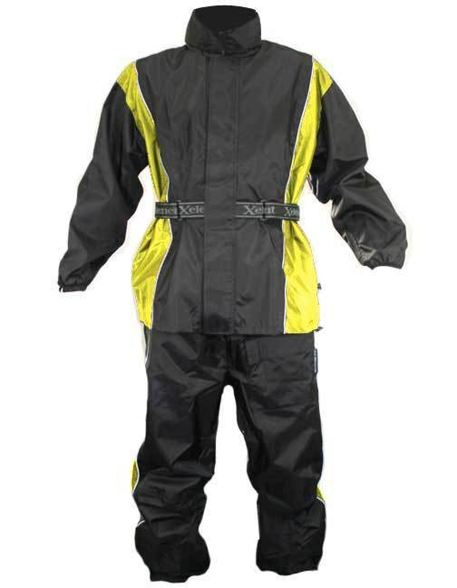 Xelement RN4782 Men's Black/Yellow 2-Piece Motorcycle Rainsuit