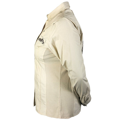 Image of RideRDie Clothing RRD007 'Soul Sacrifice' Ladies Beige Casual Shirt with Snap Button Closure