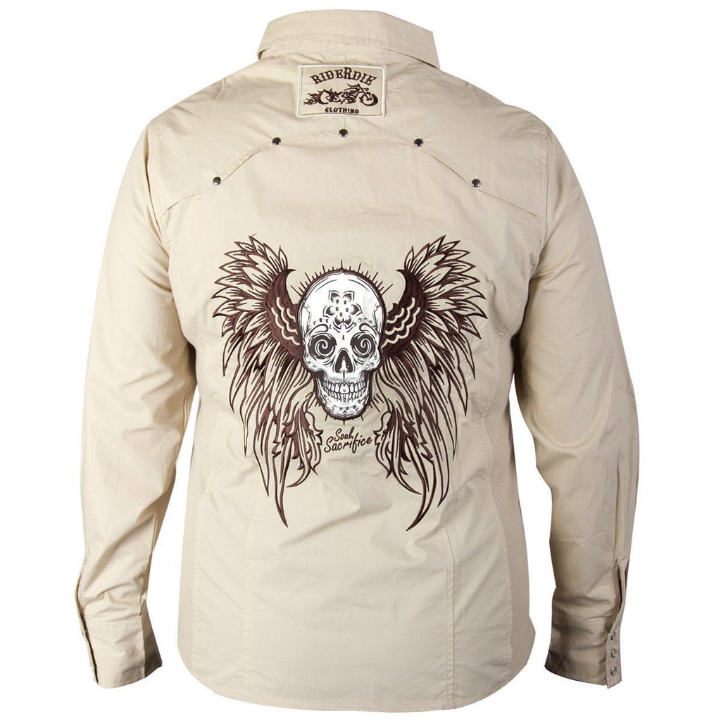 RideRDie Clothing RRD007 'Soul Sacrifice' Ladies Beige Casual Shirt with Snap Button Closure