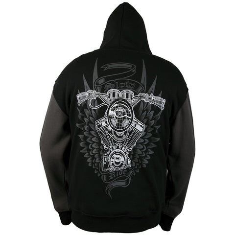 Image of RideRDie Clothing RRMHD003 'Slow Ride ' Dark Gray and Black Hoodie with Front Zipper Closure