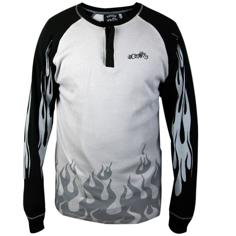 Image of RideRDie Clothing RRMTH001 'The Baddest of Them All'  Gray and Black  Embroidered  Thermal Long Sleeve Shirt