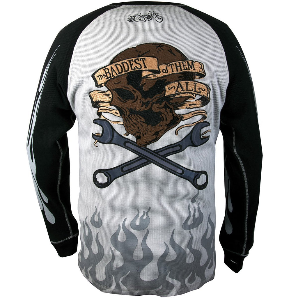 RideRDie Clothing RRMTH001 'The Baddest of Them All'  Gray and Black  Embroidered  Thermal Long Sleeve Shirt