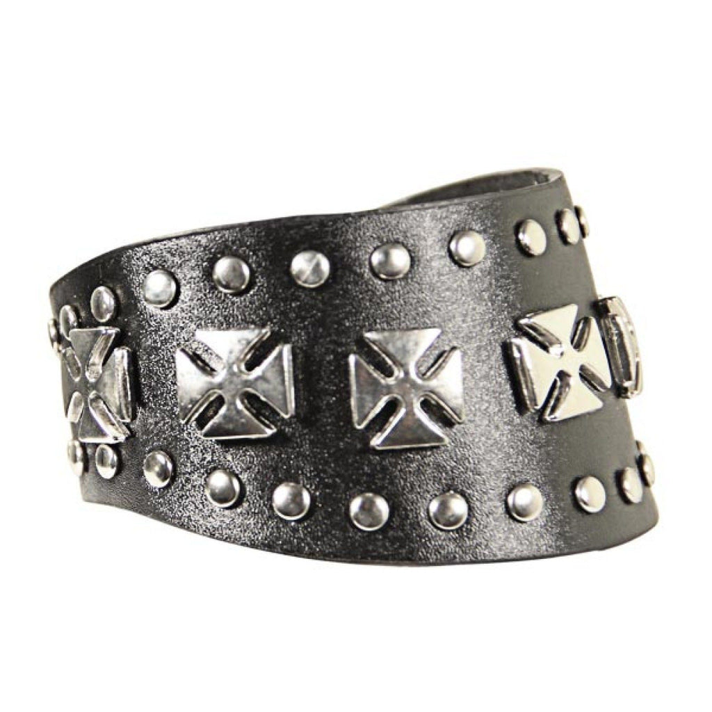 Leather Studded Seven Chopper Cross Bracelet