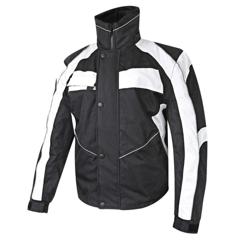 Image of Snow Master Men's Stormer Insul Tex Black/White Cold Weather Motorcycle/Snowmobile Jacket