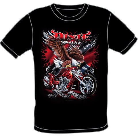 SS190 Dixie Pride Freedom To Ride Motorcycle Black T-Shirt