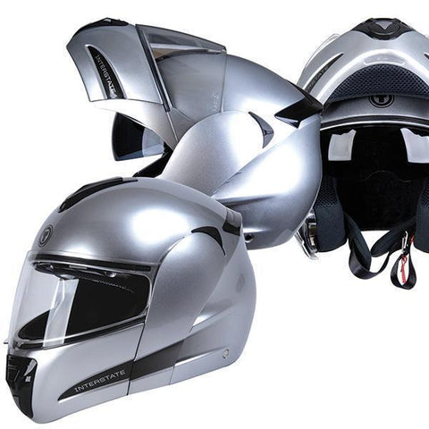 Image of Torc T-22 Interstate Silver Modular Helmet