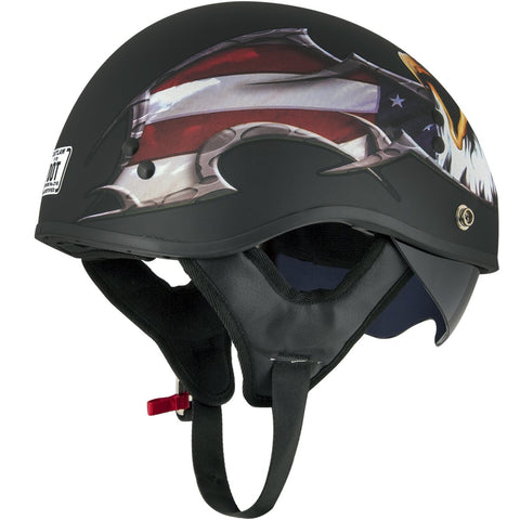 Image of Outlaw T-70 'Black Eagle Flag' Half Face Helmet with Drop Down Tinted Visor