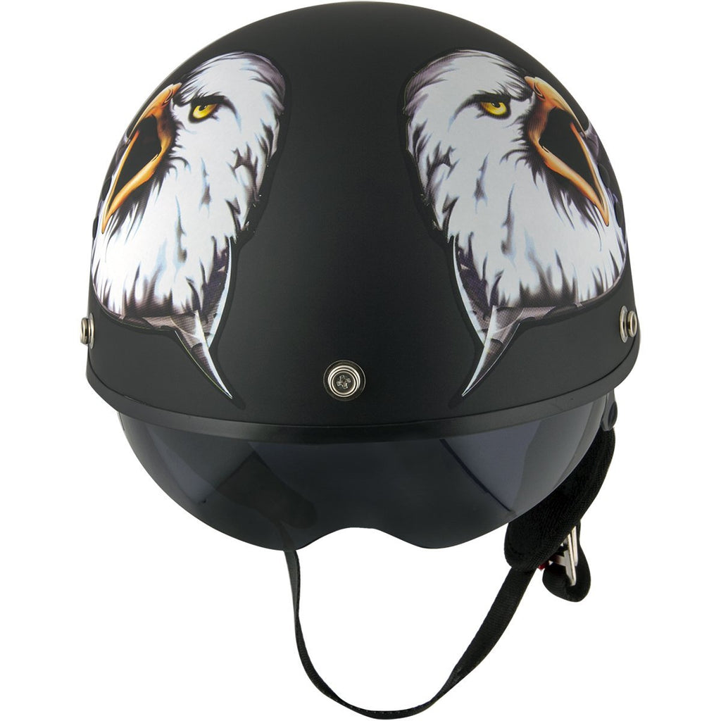 Outlaw T-70 'Black Eagle Flag' Half Face Helmet with Drop Down Tinted Visor