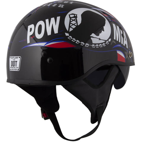Image of Outlaw T-70 'POW' Prisoner Of War Half Face Helmet with Drop Down Tinted Visor