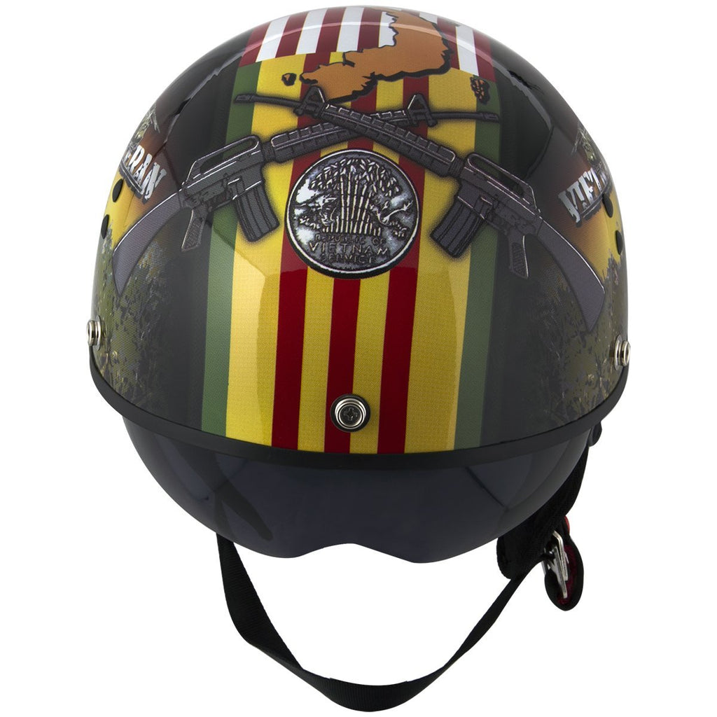 Outlaw T-70  'Vietnam' Half Face Helmet with Drop Down Tinted Visor