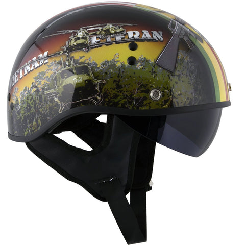 Image of Outlaw T-70  'Vietnam' Half Face Helmet with Drop Down Tinted Visor