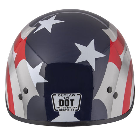 Outlaw T-70 'Blue Flag' American Flag Half Face Helmet with Drop Down Tinted Visor