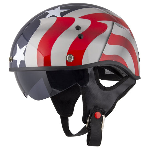 Image of Outlaw T-70 'Blue Flag' American Flag Half Face Helmet with Drop Down Tinted Visor