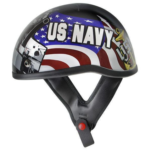 Outlaw T70 Glossy Motorcycle Half Helmet with Officially Licensed U.S. Navy Graphics