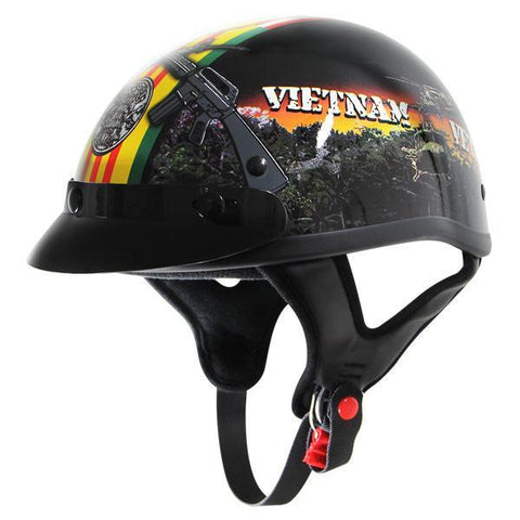 Image of Outlaw T70 Glossy Motorcycle Half Helmet with Vietnam-Veteran-of-America Graphics