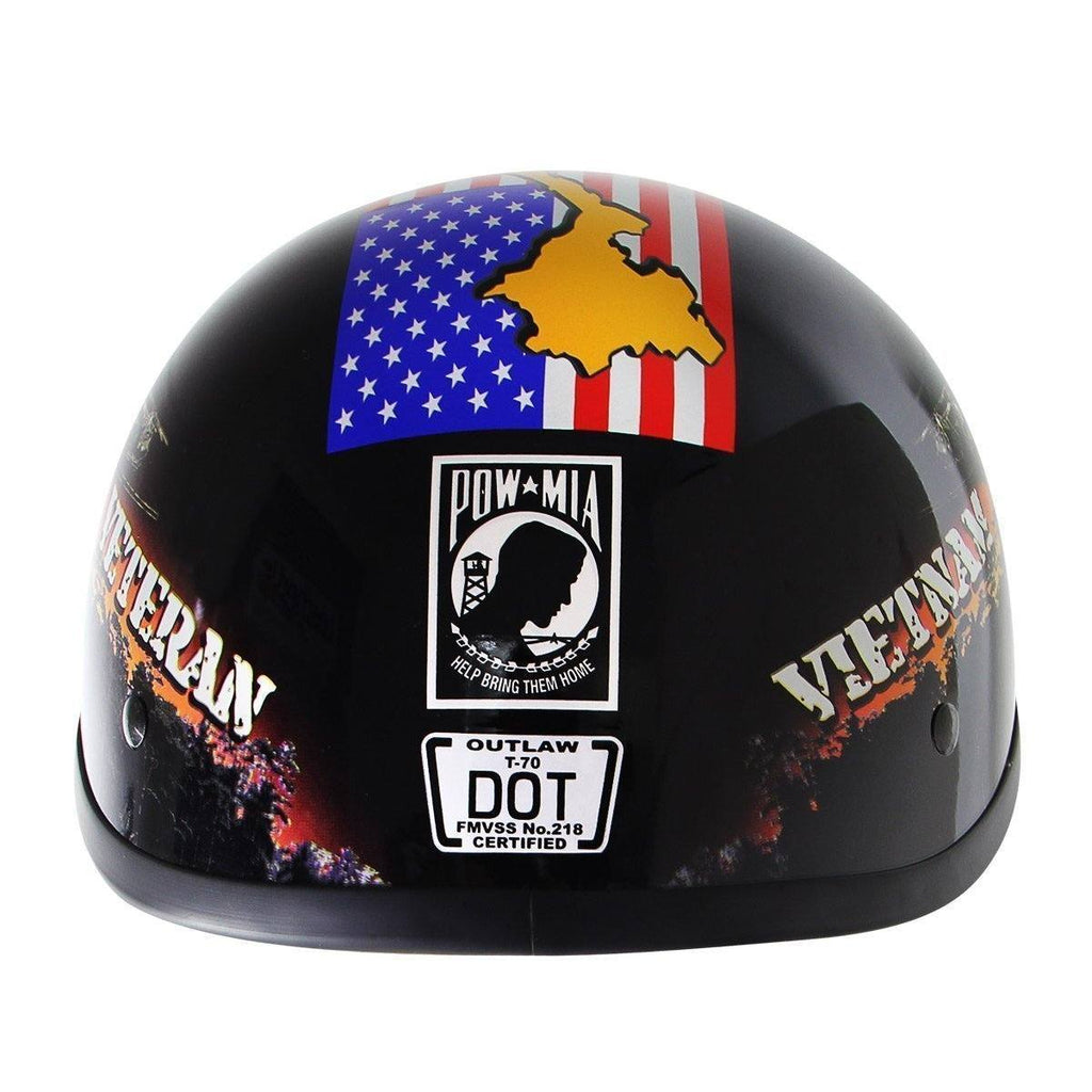 Outlaw T70 Glossy Motorcycle Half Helmet with Vietnam-Veteran-of-America Graphics
