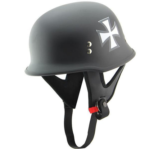 Outlaw 'Iron Cross' Flat Black Half Helmet