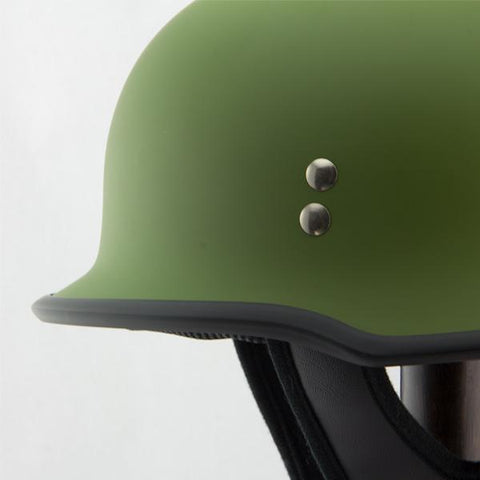 Image of Outlaw T-75 'Military' German Style Flat Green Half Helmet