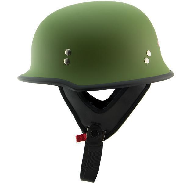Outlaw T-75 'Military' German Style Flat Green Half Helmet