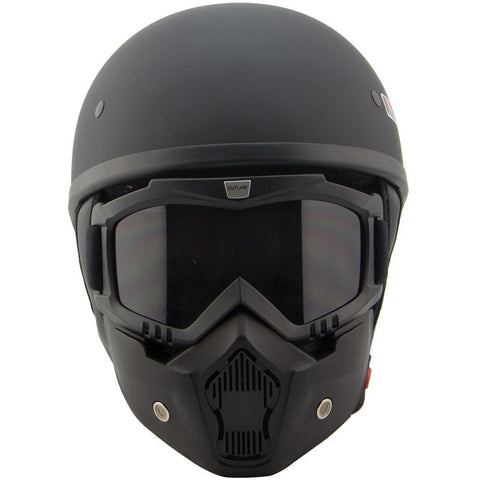 Outlaw T68 DOT Flat Black Half Helmet with Outlaw 50 'Nemesis' Vintage Face Mask with Detachable Motorcycle Goggles