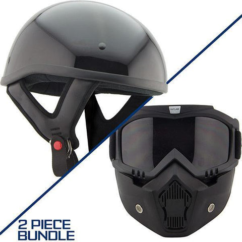 Image of Outlaw T68 DOT Glossy Black Half Helmet with Outlaw 50 'Nemesis' Vintage Face Mask with Detachable Motorcycle Goggles