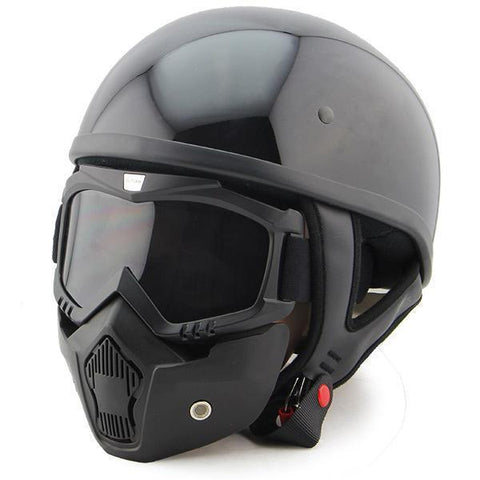 Outlaw T68 DOT Glossy Black Half Helmet with Outlaw 50 'Nemesis' Vintage Face Mask with Detachable Motorcycle Goggles