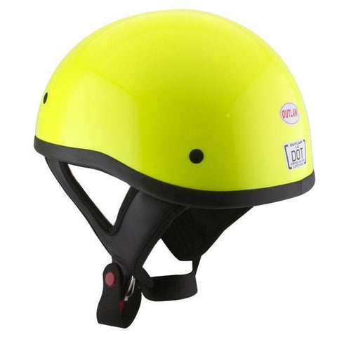 Outlaw T68 DOT Glossy High-Vis Yellow Half Helmet with Outlaw 50 'Nemesis' Vintage Face Mask with Detachable Motorcycle Goggles