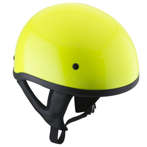 Outlaw T68 DOT Hi-Vis Yellow Motorcycle Skull Cap Half Helmet