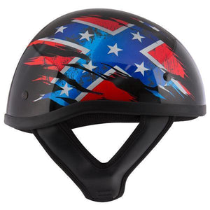 Outlaw T68 'Rebel Flag' Black Glossy Motorcycle Skull Cap Half Helmet with Outlaw 50 'Nemesis' Vintage Face Mask with Detachable Motorcycle Goggles